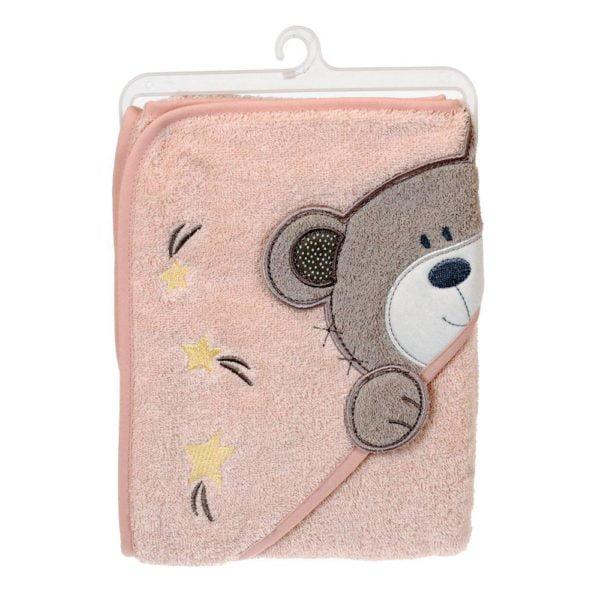 Baby Badcape björn Rosa
