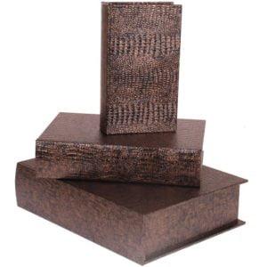 Bokförvaring Krokodil 3 set Brons