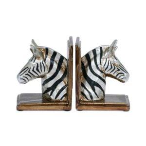 Bokstöd Zebra 2Set Silver/Svart