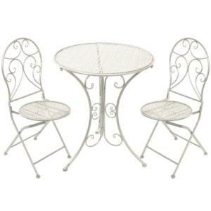Bord Med 2 stolar Vit