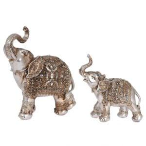 Dekoration Elefant 2 set Antikmässing