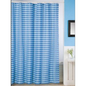 Duschdraperi Zigzag Blå