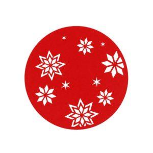 Julfilt Snöflinga Röd