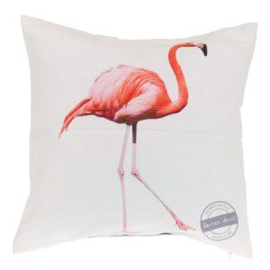 Kudde Flamingo Rosa/Vit