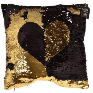 Kudde Hjärta Svart/Guld