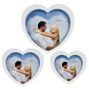 Spegel Hjärta 3 set Vit