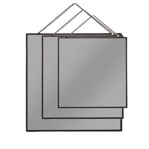 Spegel Kvadrat 3 set Svart
