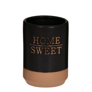 Tandborstglas Home sweet Svart