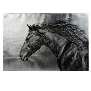 Tavla Häst Svart/Vit