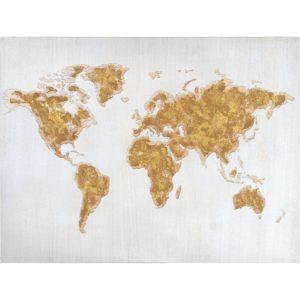 Tavla Världen Guld/Vit